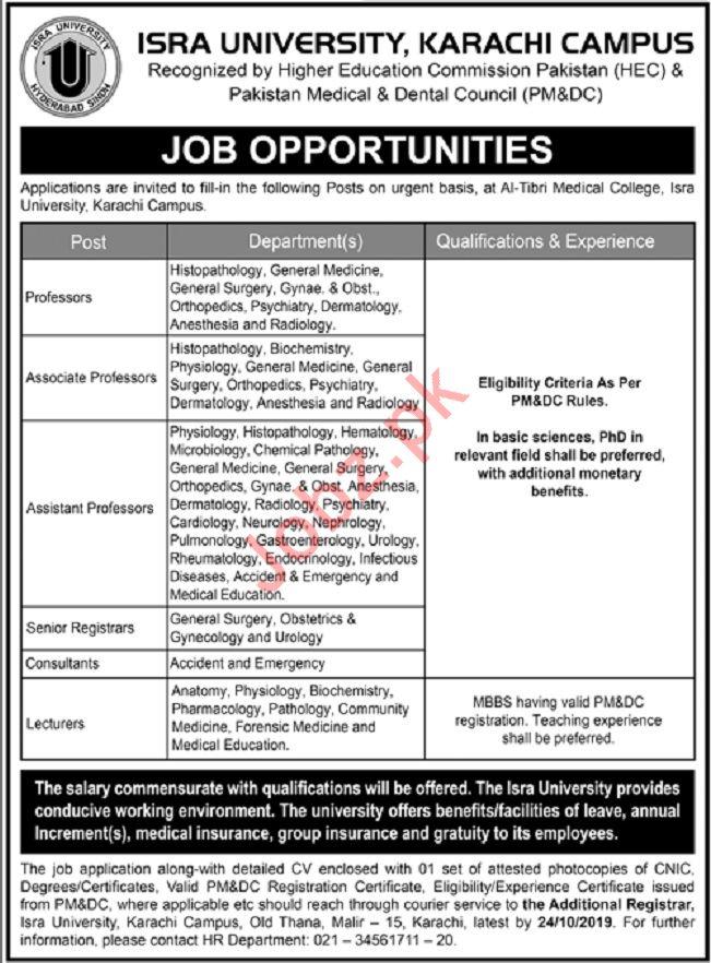 Al Tibri Medical College Isra University Jobs in Karachi