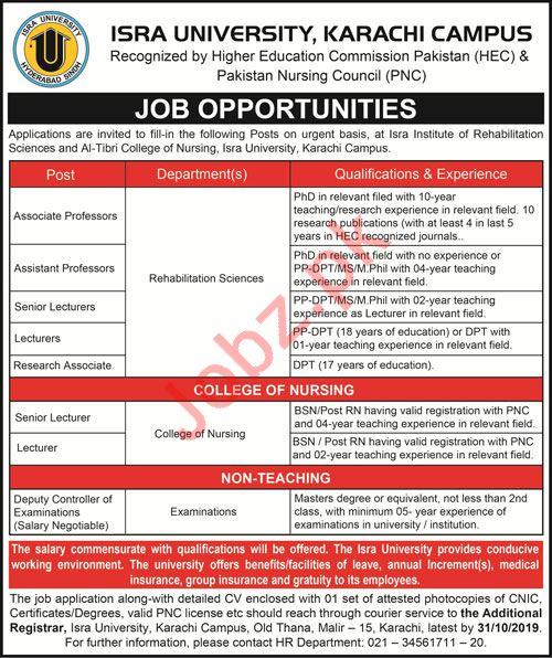 Isra University Karachi Campus Jobs 2019