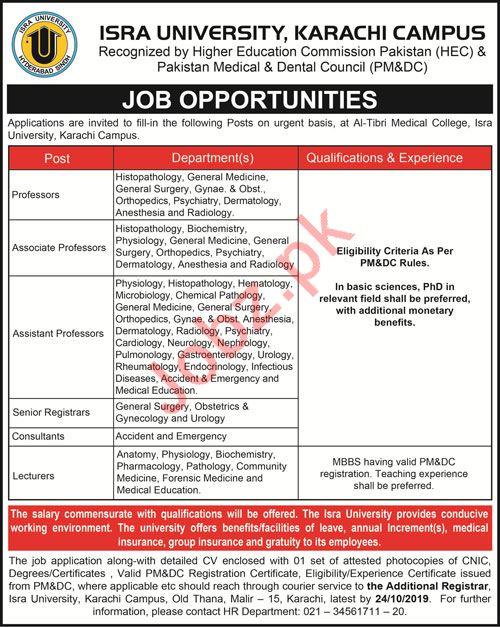 Al Tibri Medical College Isra University Jobs 2019