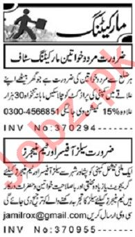 Aaj Sunday Classified Ads 20th Oct 2019 for Marketing Staff