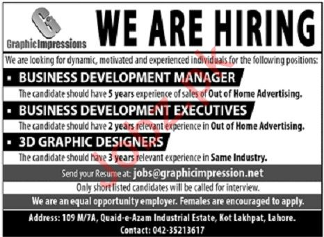 Graphic Impressions Jobs For IT Staff in Lahore