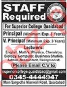 Superior College Quaidabad Jobs 2019
