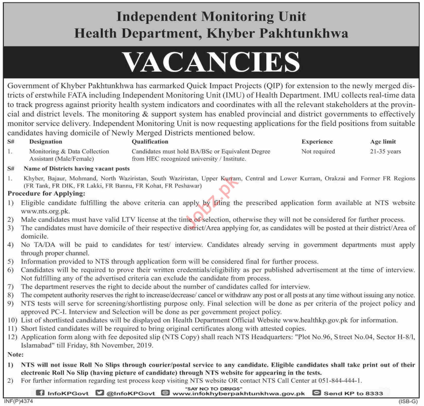 Independent Monitoring Unit Health Department Jobs via NTS