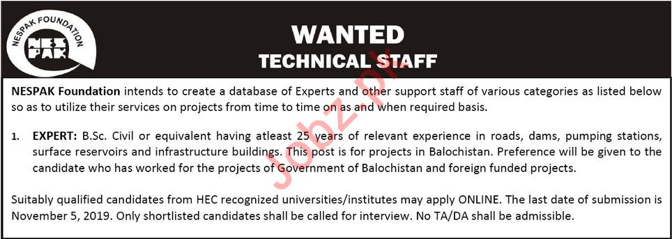 NESPAK Foundation Job For Technical Staff in Lahore