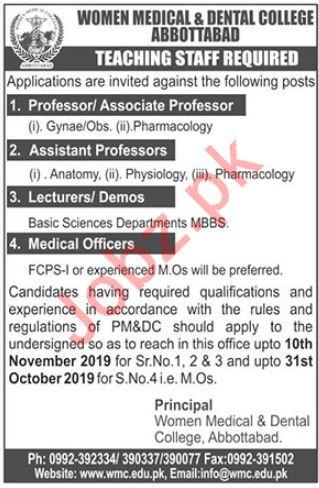 Women Medical & Dental College Medical Teaching Jobs 2019