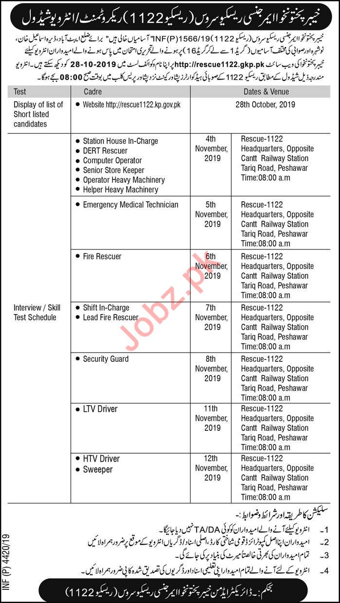Rescue 1122 KP Jobs Interview 2019