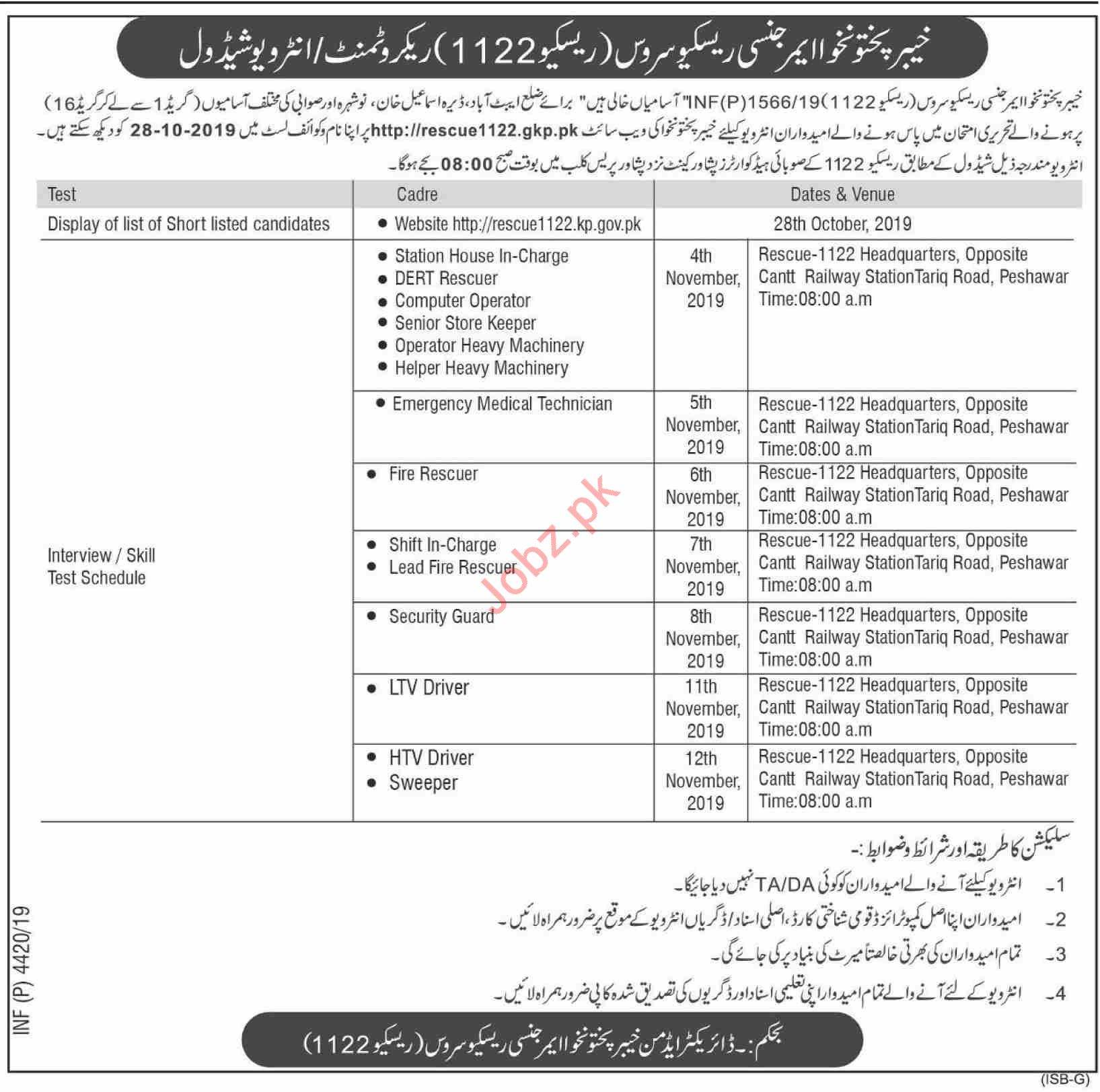 Emergency Rescue Services KP Rescue 1122 Jobs Interview 2019