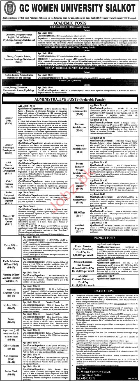 GC Women University Sialkot Jobs 2019
