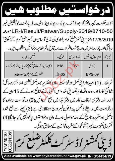 Revenue & Estate Department Karam KPK Jobs