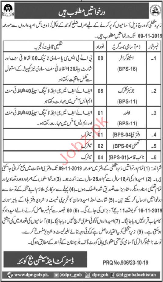 District & Session Court Quetta Balochistan Jobs