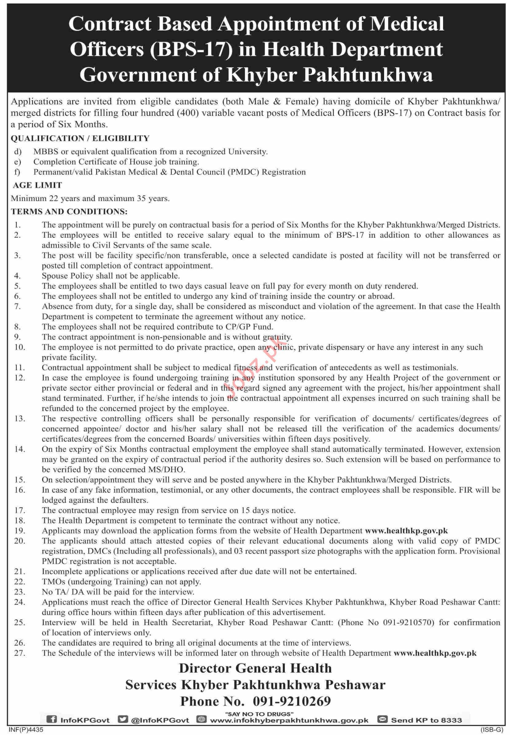 KP Health Department Jobs 2019 for Medical Officers