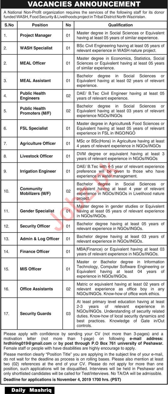 Non Government Organization NGO Jobs in Peshawar