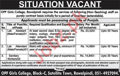 OPF Girls College Jobs For Non Teaching Staff in Rawalpindi