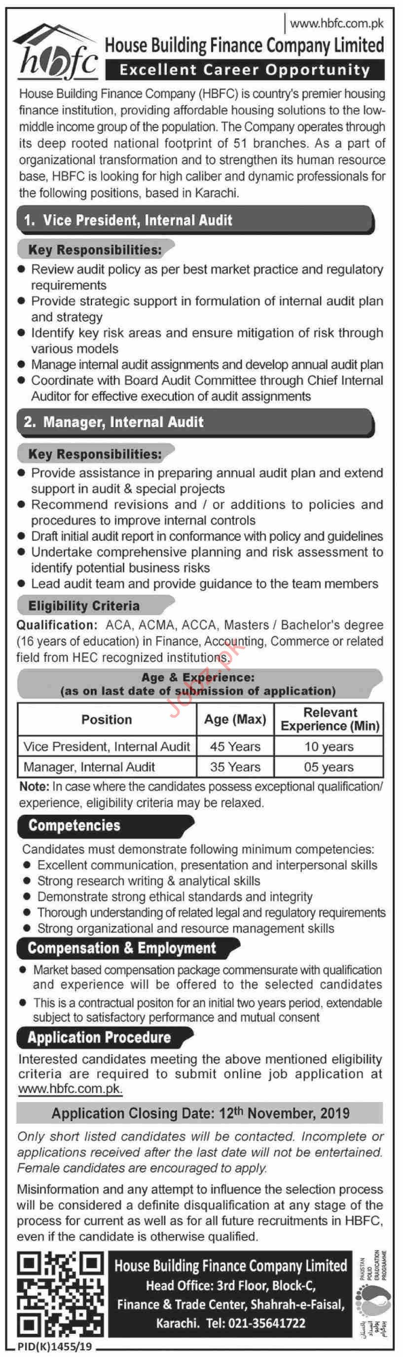 Vice Principal Internal Audit Manager Internal Audit Jobs In House Building Finance Company Limited Hbfcl