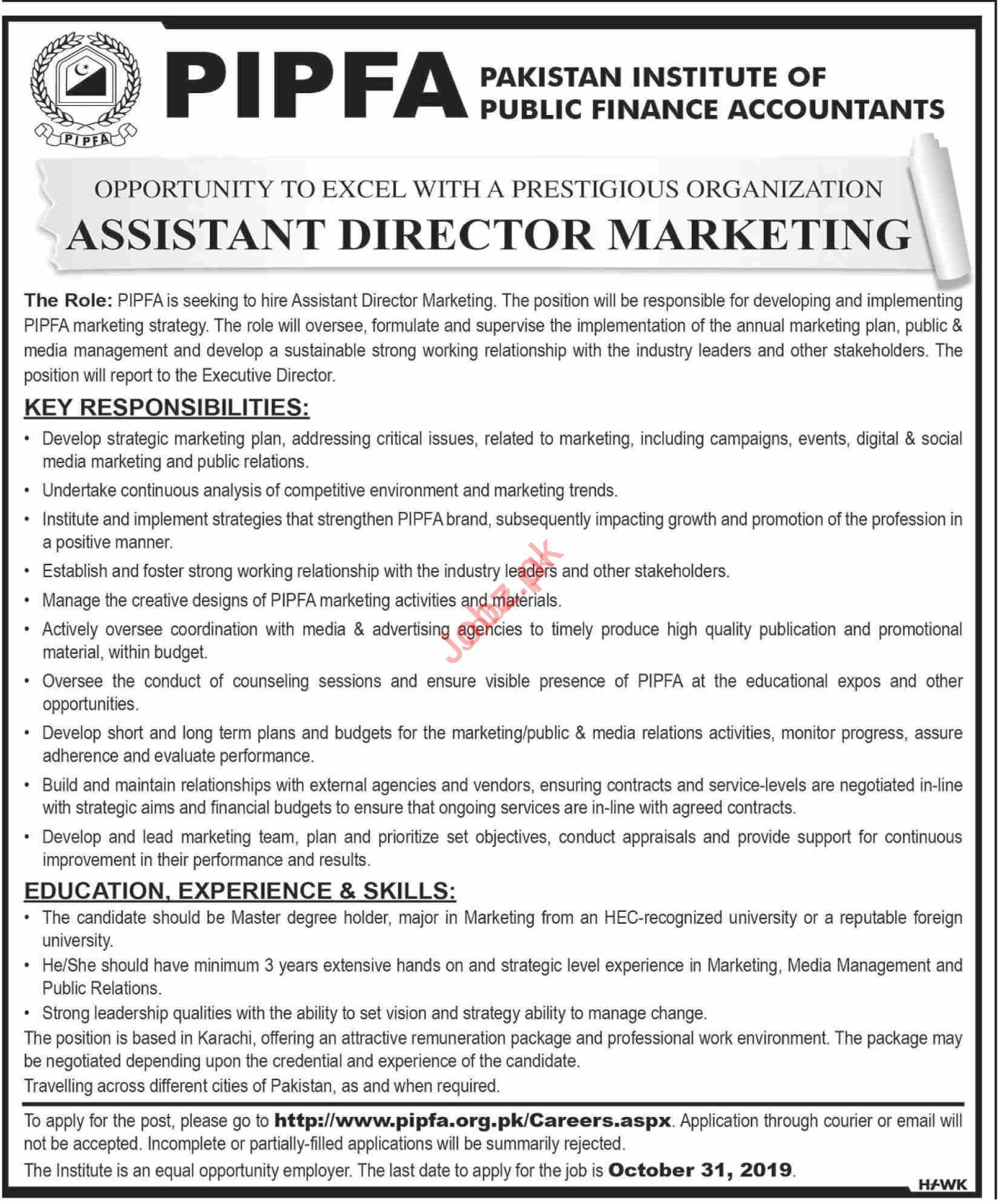 Pakistan Institute of Public Finance Accountants PIPFA Job