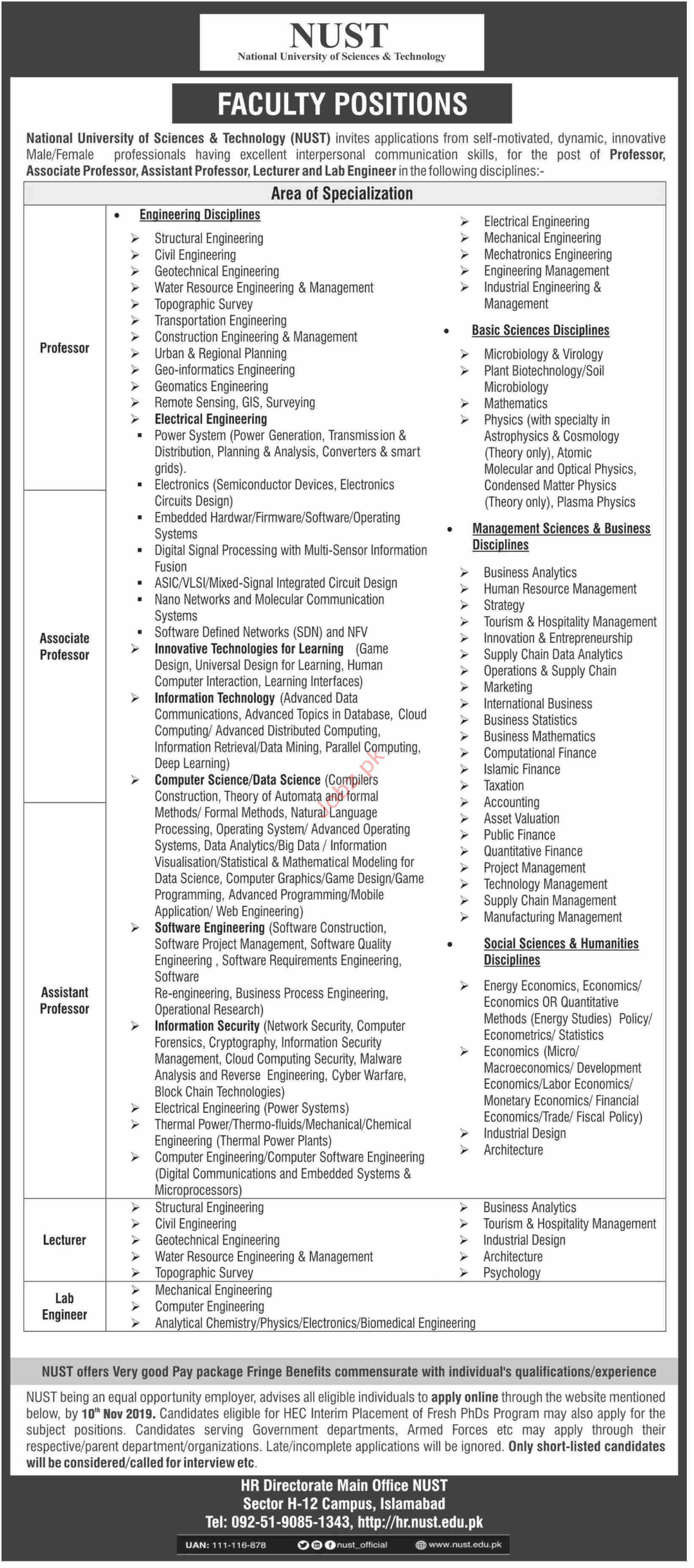 National University of Science & Technology NUST Isb Jobs