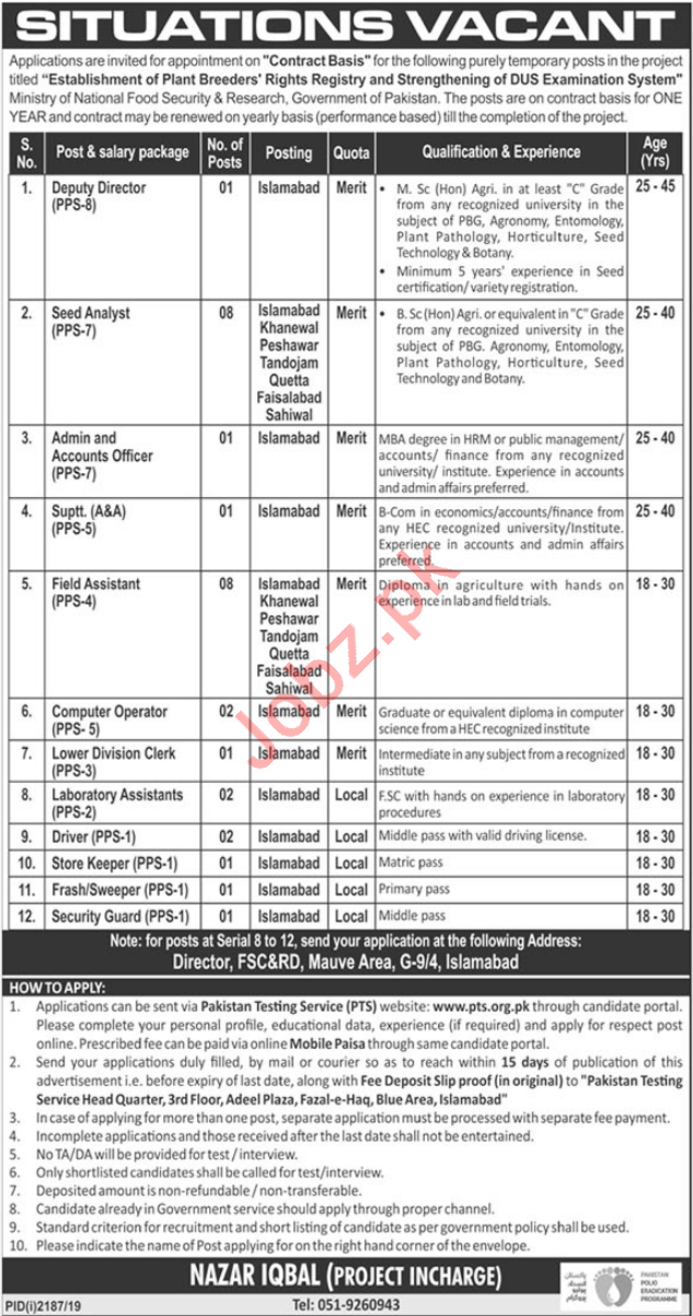 Ministry of National Food Security & Research Jobs via PTS