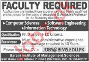 Barani Institute of Management Sciences BIMS Professors Jobs
