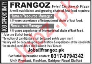 Frangoz Restaurant Jobs 2019 in Sialkot