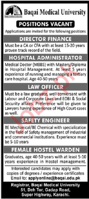 Baqai Medical University Jobs in Karachi