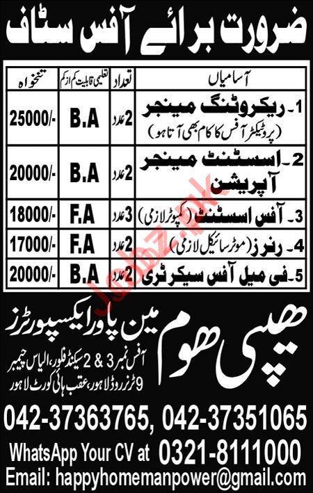 Happy Home Worldwide Manpower Exporters Lahore Jobs