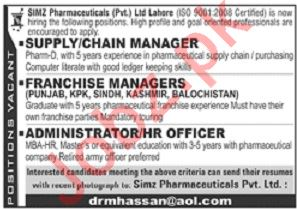 Simz Pharmaceuticals Pvt Ltd Jobs in Lahore