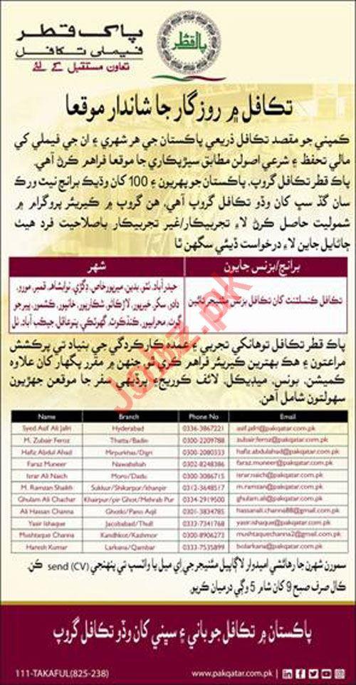 Pak Qatar Takaful Jobs in Sindh