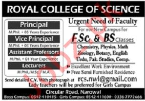 Royal College of Science Jobs In Narowal