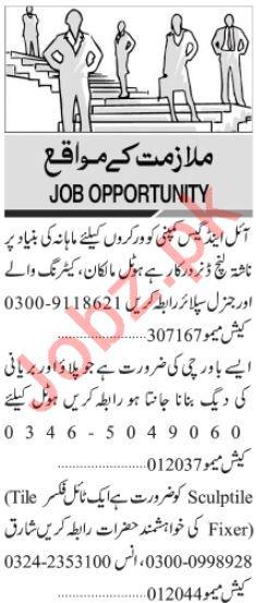 Cook Chef Tile Fixer Jobs in Karachi