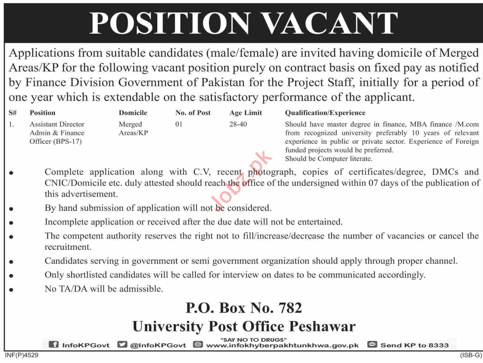 KPK Government Jobs 2019 P O Box 782 University Post Office