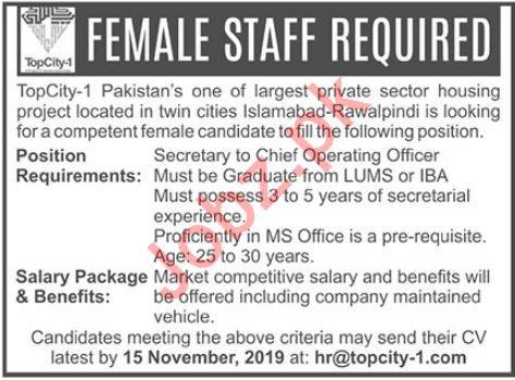 TopCity 1 Job For Secretary in Islamabad & Rawalpindi