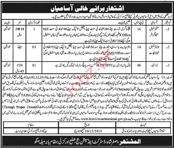 District & Session Judge Orakzai Jobs