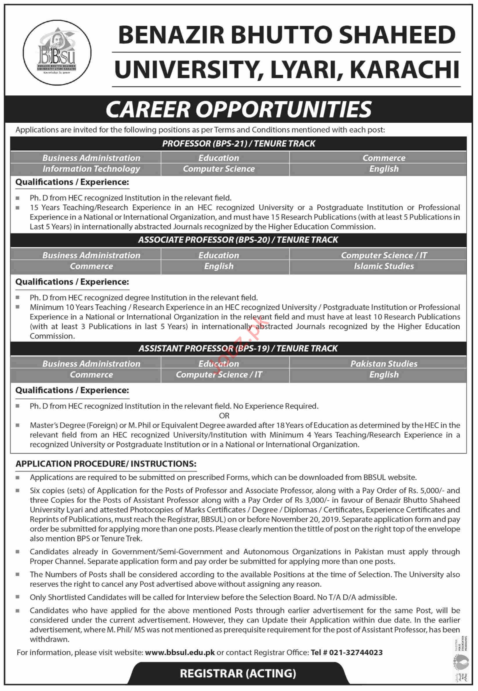 Benazir Bhutto Shaheed University Faculty Jobs in Karachi