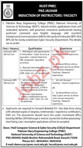 Pakistan Navy Engineering College PNEC Faculty Jobs 2019