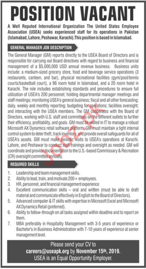 United States Employee Association USEA NGO Jobs 2019