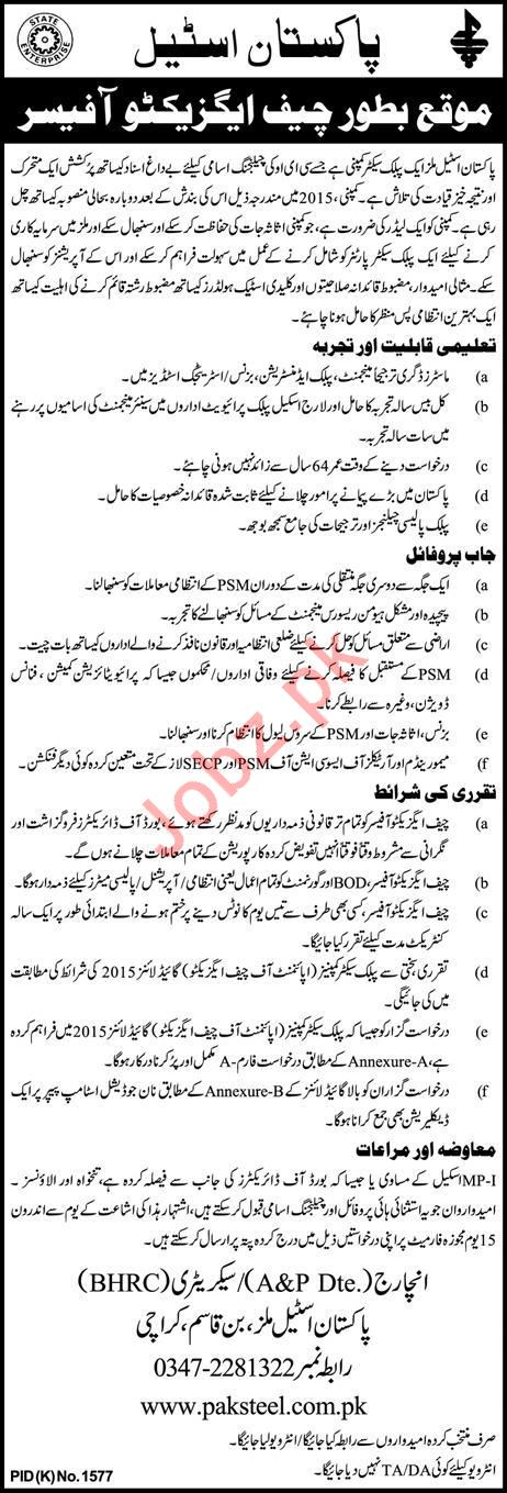Pakistan Steel Mills Job For Chief Executive Officer CEO