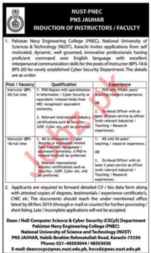 Pakistan Navy Engineering College PNEC Instructor Jobs 2019