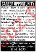 Faizan Steel Karachi Jobs for HR Manager & Marketing Officer