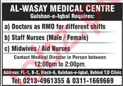 Doctor RMO Staff Nurse LHV Jobs in Karachi