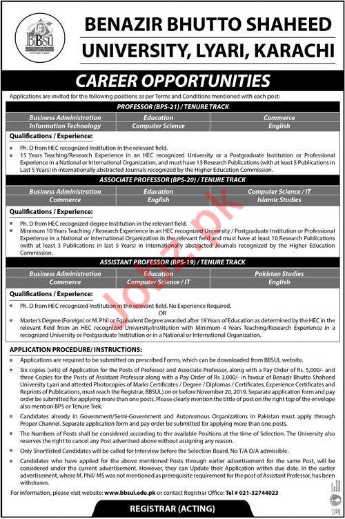 Benazir Bhutto Shaheed University Faculty Jobs For Karachi