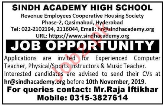 Sindh Academy High School Jobs For Teachers In Hyderabad