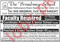 The Broadway School Faculty Jobs 2019 in Lahore