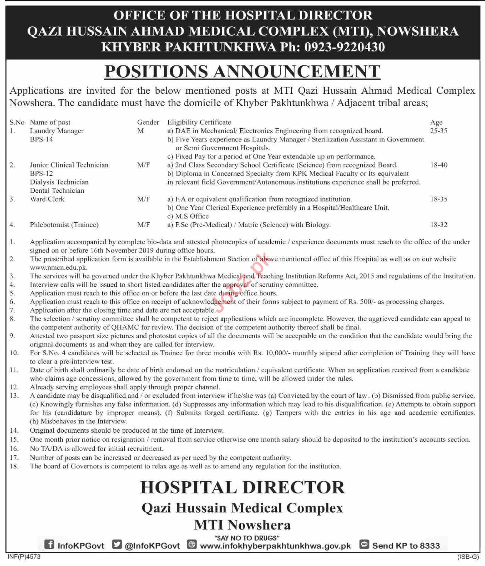 Qazi Hussain Ahmad Medical Complex MTI Nowshera Jobs 2019