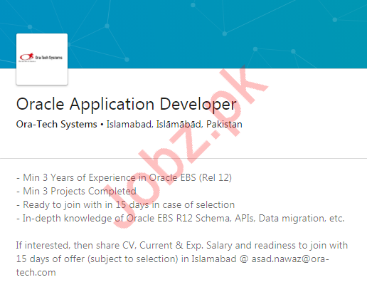 Oracle Application Developer Job in Islamabad