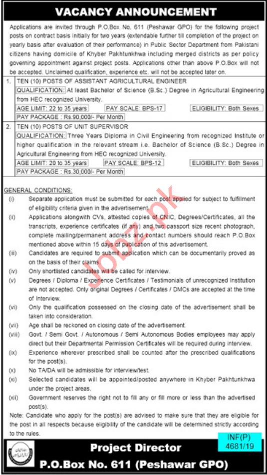 Public Sector Department Jobs in Peshawar KPK
