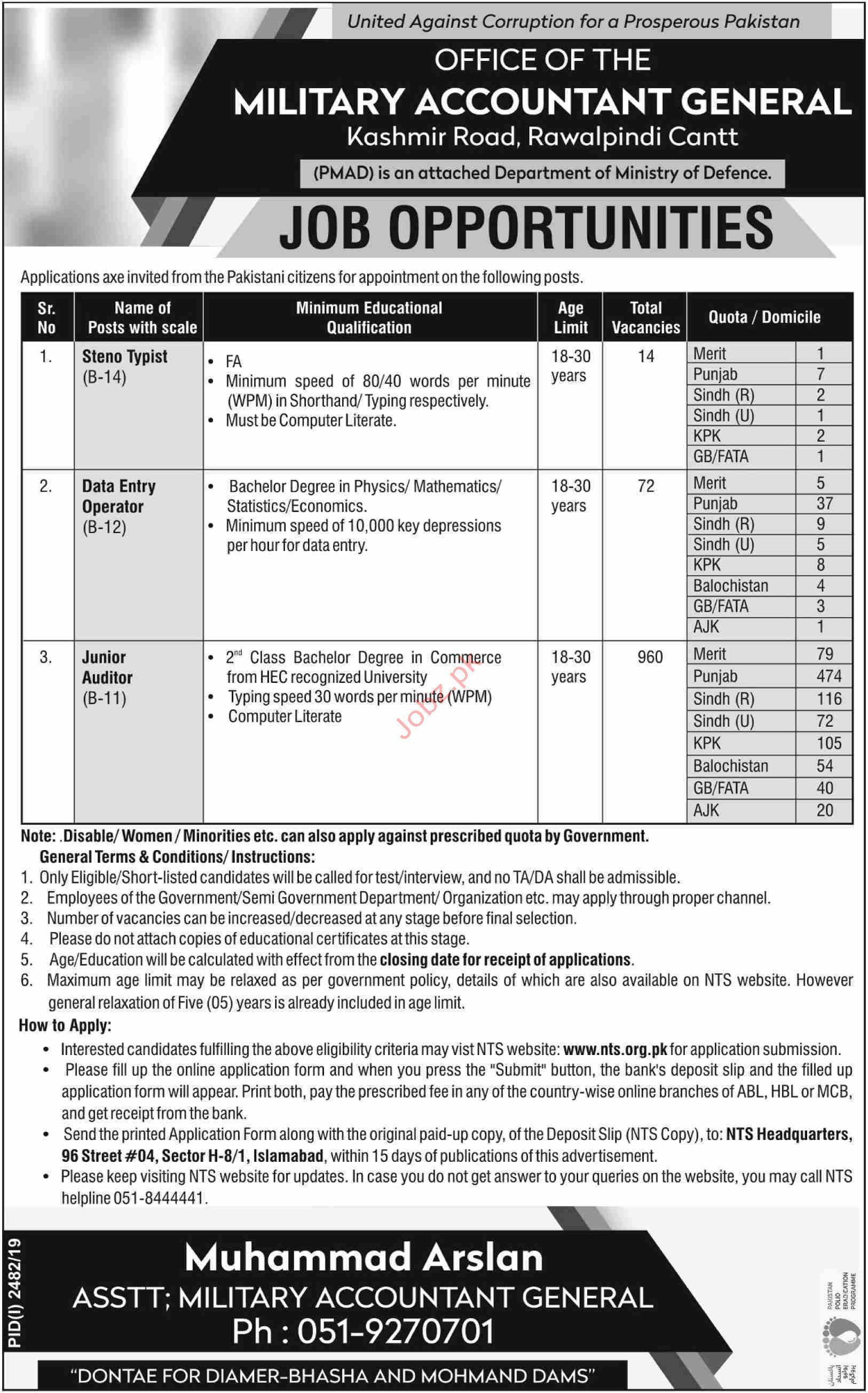 Military Accountant General Rawalpindi Cantt Jobs via NTS