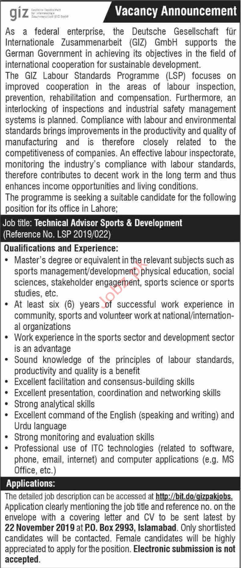 GIZ Pakistan Technical Advisor Jobs in Islamabad
