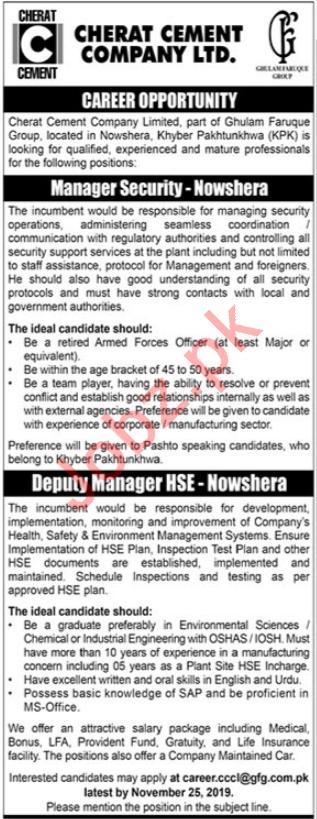 Cherat Cement Company Ltd Job 2019 in Nowshera KPK