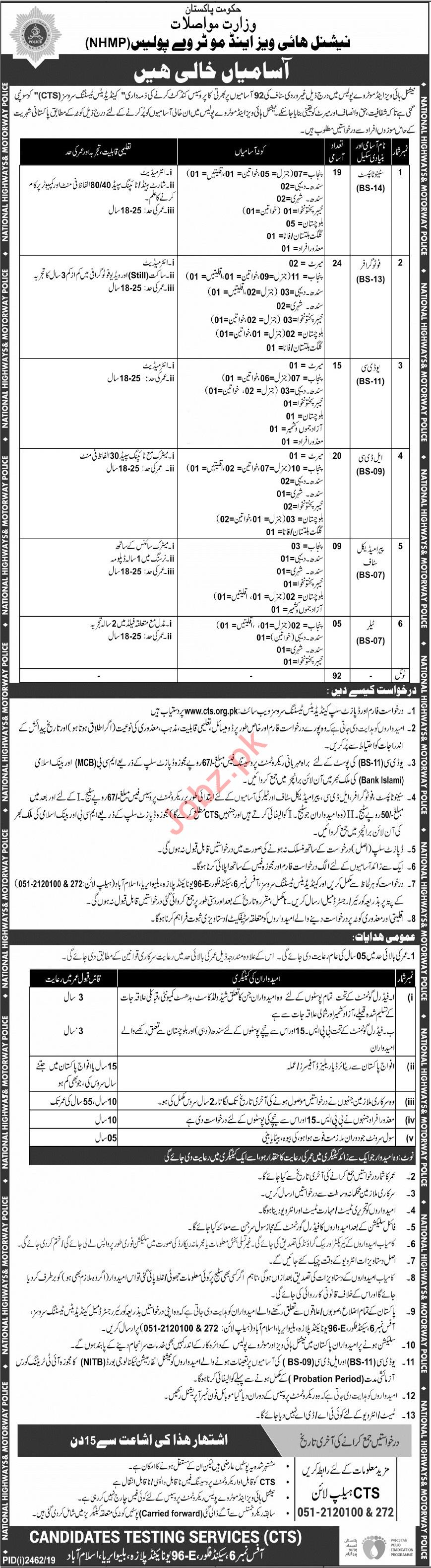 National Highway and Motorway Police NHMP Jobs Via CTS