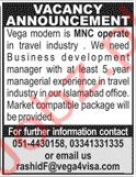 Vega Modern Travels Jobs in Islamabad
